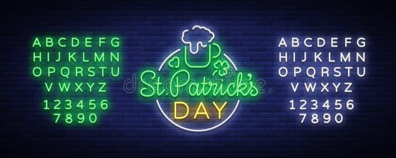 St Patricks天是一个霓虹灯广告 标志,商标用啤酒,霓虹横幅,在霓虹样式,欢乐例证的明亮的设计 库存例证