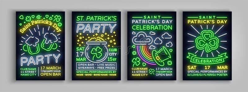 St Patricks天是海报的一汇集 布景模板在氖,霓虹灯广告,明亮的飞行物的印刷术样式 皇族释放例证