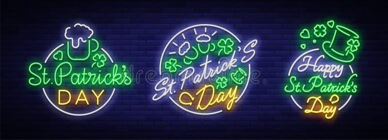 St Patricks天是霓虹灯广告的汇集 字符汇集,商标用啤酒,霓虹横幅,在氖的生动的设计 皇族释放例证