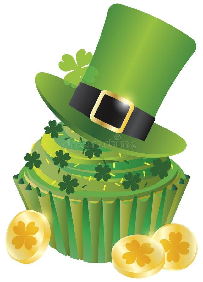 St Patricks日妖精帽子杯形蛋糕 向量例证