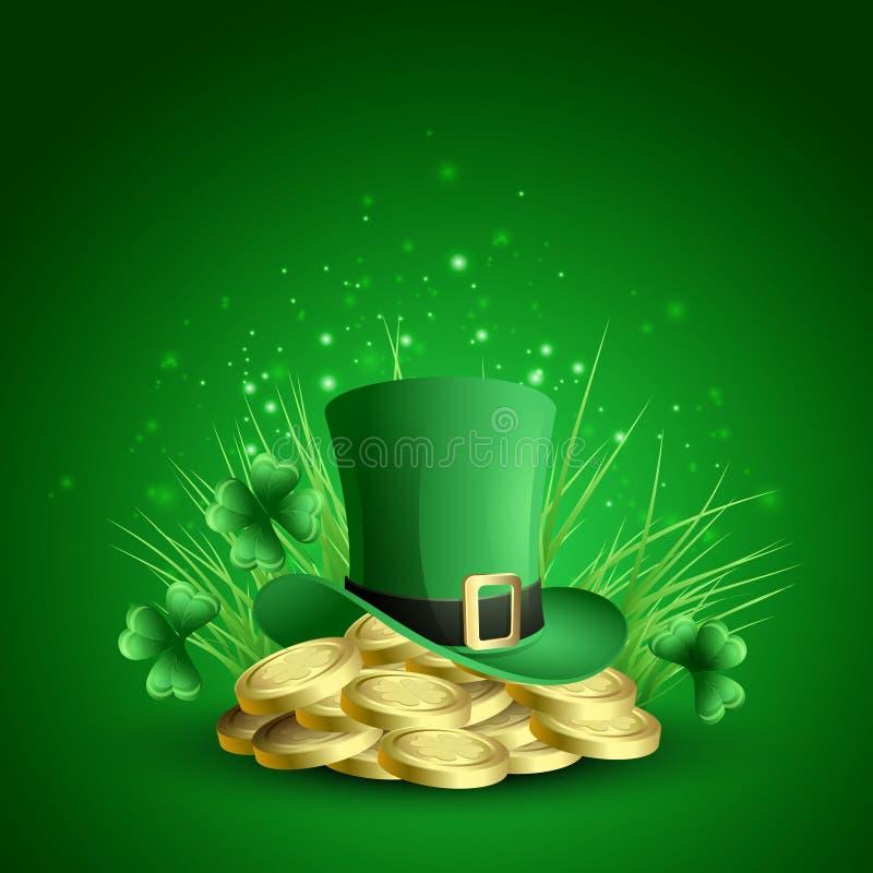 St Patricks日绿色三叶草背景 向量例证