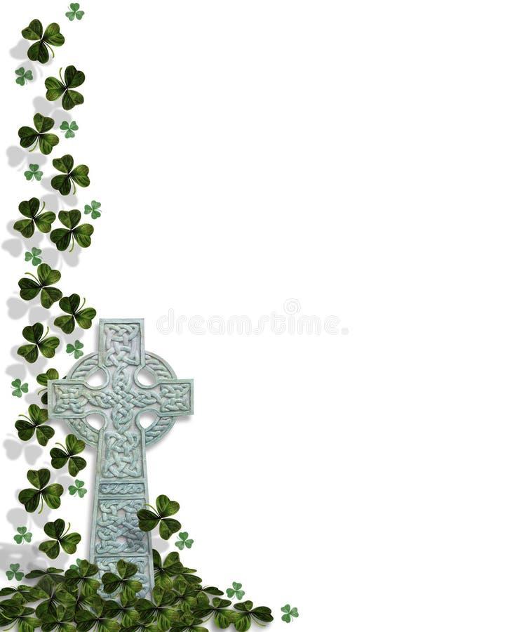 st patricks дня кельтского креста граници иллюстрация вектора