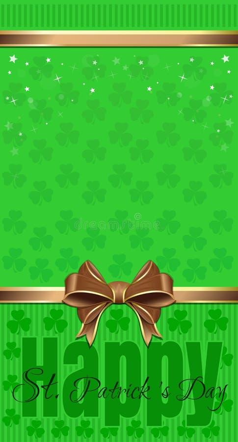 st patricks конструкции дня Зеленая праздничная предпосылка с клевером и надписью приветствию иллюстрация штока