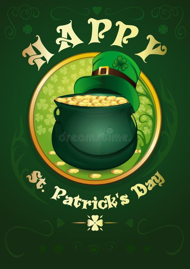 st patricks дня счастливый Зеленый бак с золотыми монетками бесплатная иллюстрация