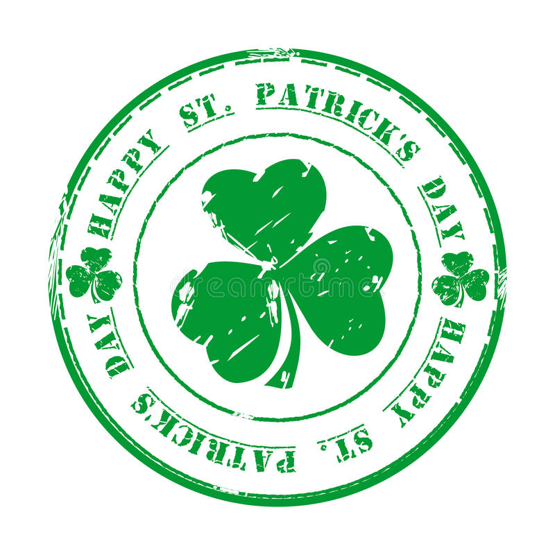 st patricks дня счастливый 17-ое марта Зеленая избитая фраза grunge с клевером и текстом иллюстрация штока