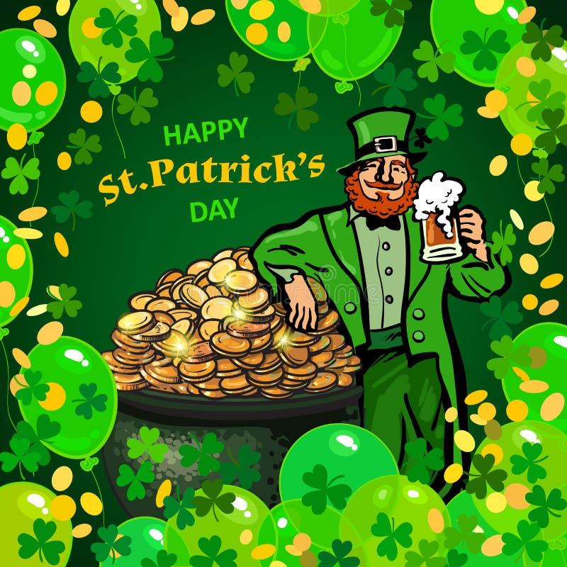St Patricks dagaffiche De mok die van het de holdingsbier van de beeldverhaalkabouter op pottenhoogtepunt leunen van geld Groene  royalty-vrije illustratie