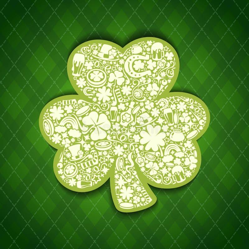 St Patricks Dagenkaart van witte voorwerpen op Ierse pa vector illustratie