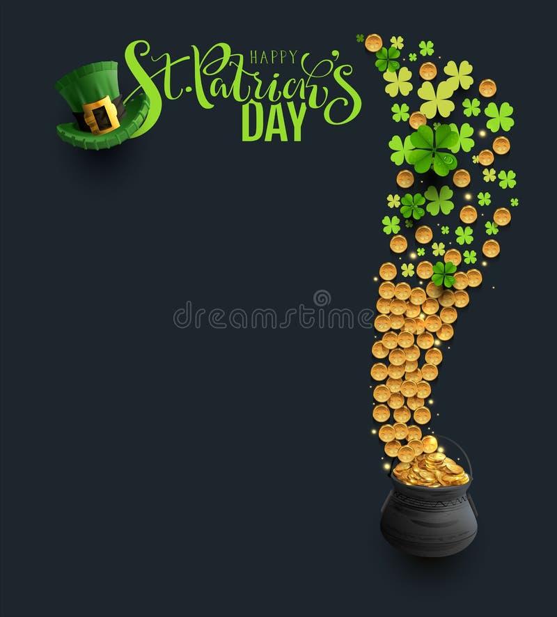 St Patricks Dagtype, groene hoed en klavermuntstukken royalty-vrije illustratie