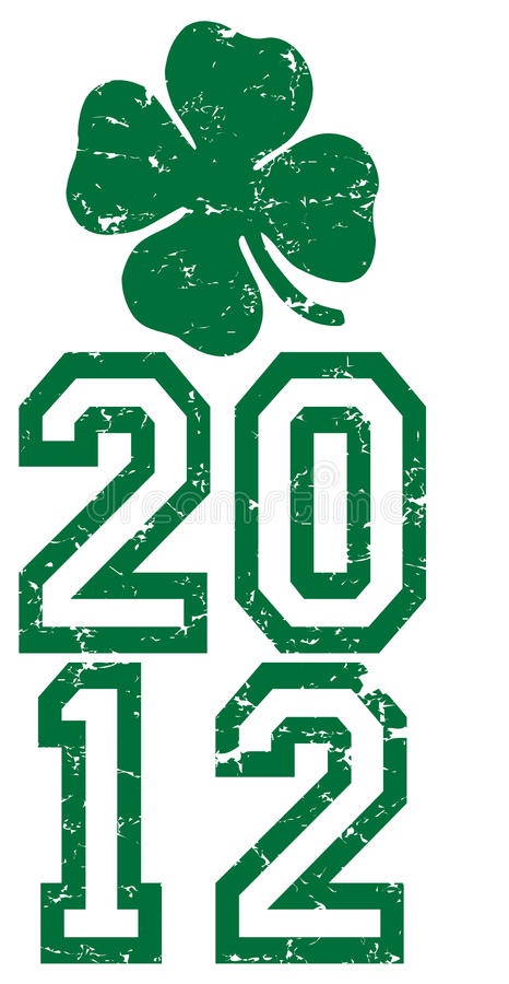 St. Patricks Day 2012. Green design for St. Patricks Day 2012 with 4 leaf clover with all distressed stock illustration