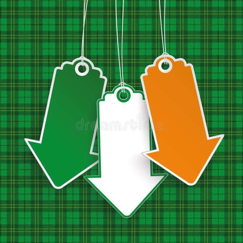 Free St Patricks Day 3 Price Stickers ArrowsTartan Stock Image - 67641051