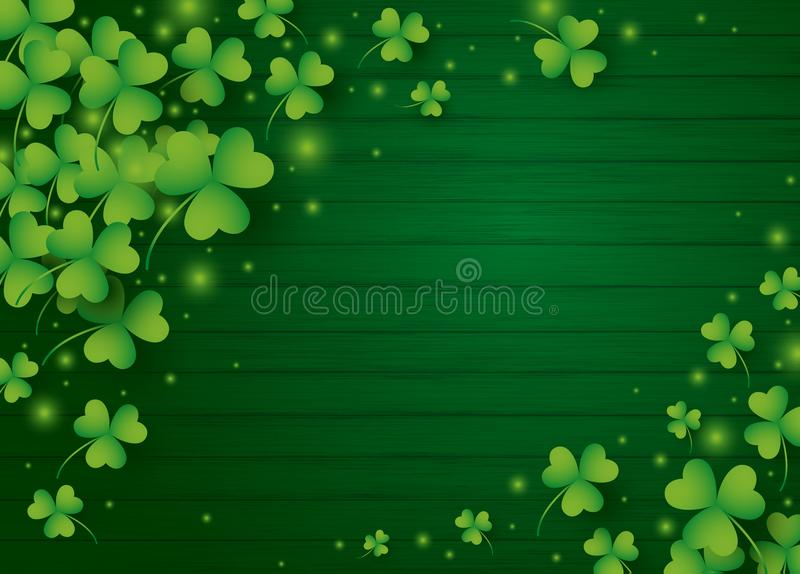 St Patricks day background design of clover leaves royalty free illustration