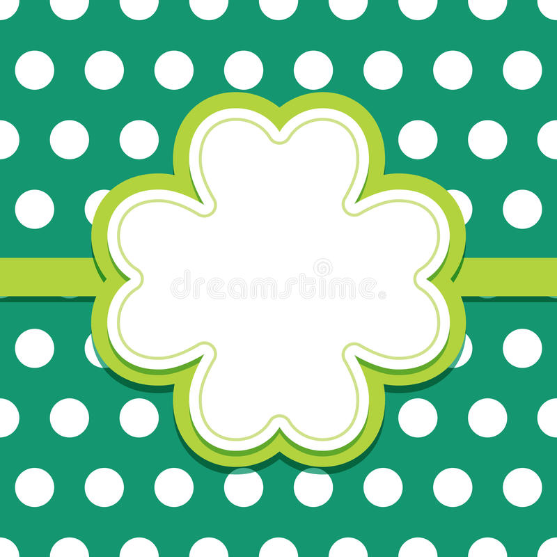 St Patricks Day card with 4 leaf clover text frame royalty free illustration