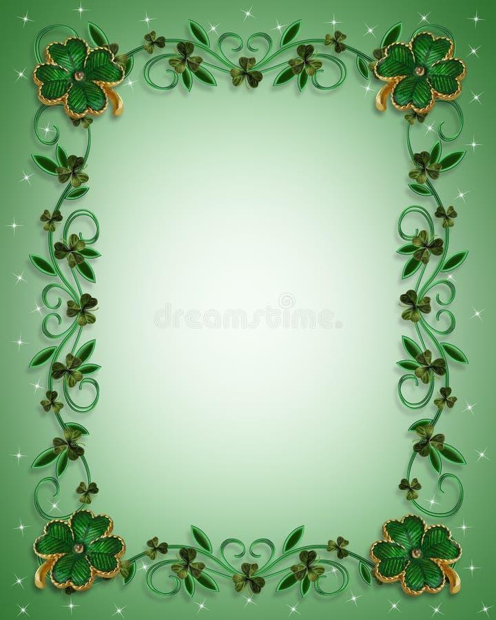 St Patricks Day Border Shamrocks stock illustration