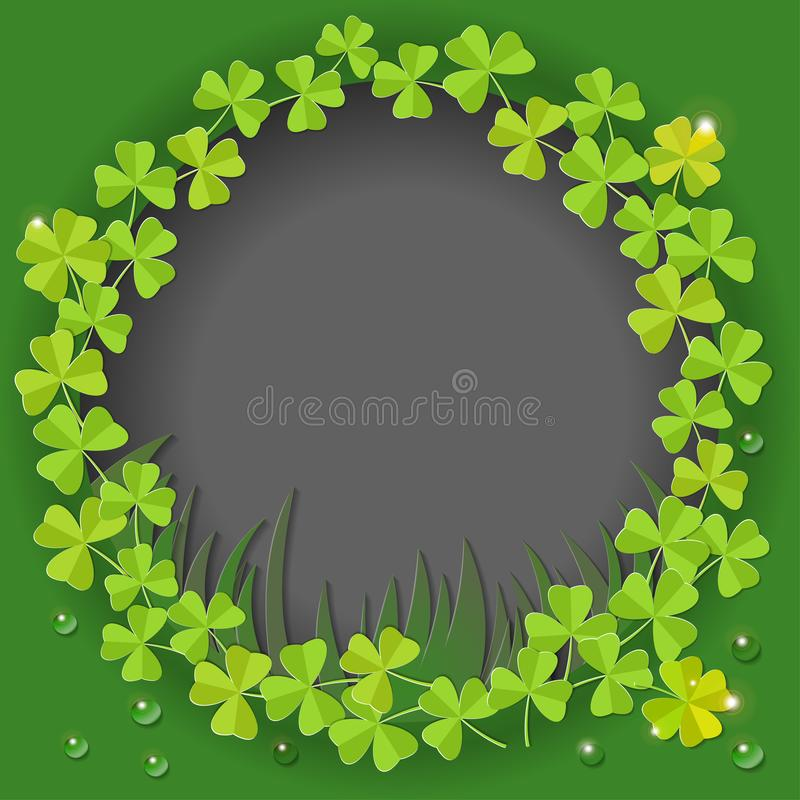 St. Patricks Day card. Wreath with clover leaves on green background for greeting holiday design. Vector illustration. vector illustration
