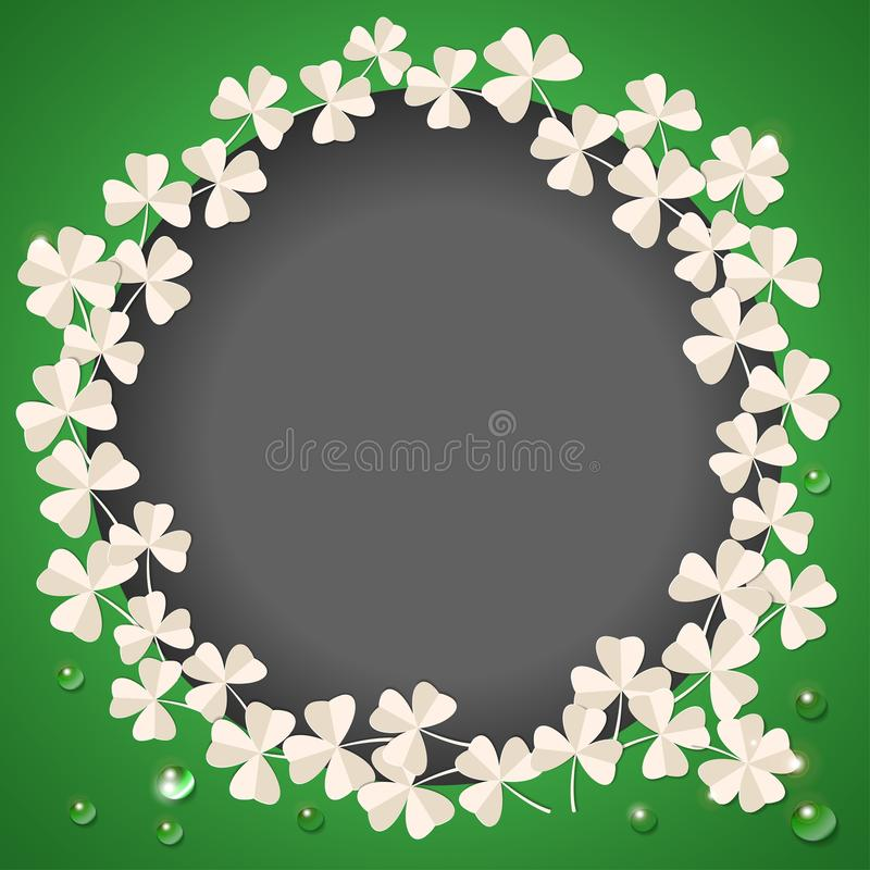 St. Patricks Day card. Wreath with white clover leaves on green background for greeting holiday design. Vector. St. Patricks Day card. Wreath with clover leaves royalty free illustration