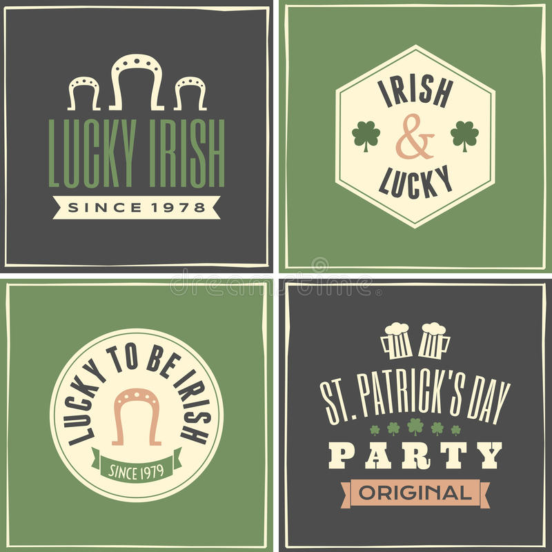 St. Patricks Day Cards Collection vector illustration