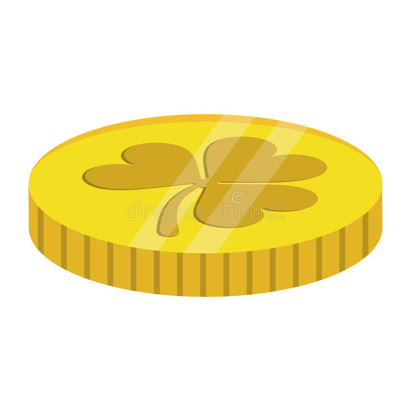 St patricks day coin treasure with clover. Vector illustration eps 10 stock illustration
