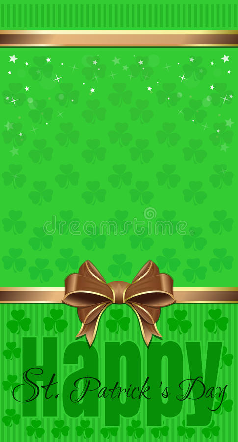 St. Patricks Day design. Green festive background with clover and greeting inscription stock illustration