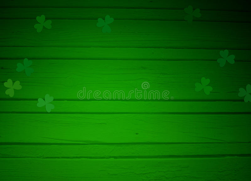 St. Patricks day greeting card, mock up scene with empty space, wooden background and clover leaves vector illustration