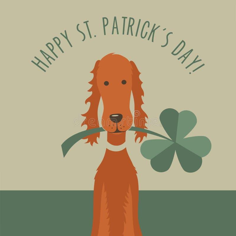 St. Patricks day greeting with funny Irish Setter stock illustration