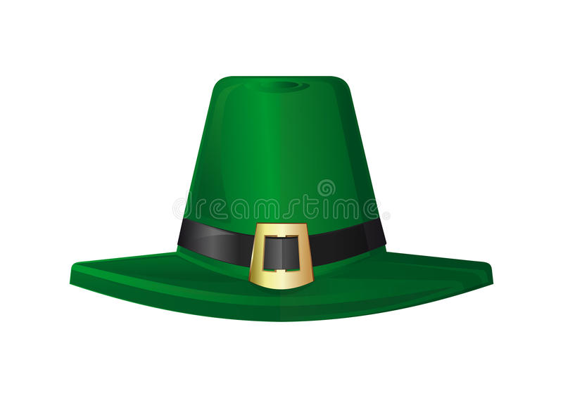 St. Patricks Day hat. Green leprechaun hat. Design element to St. Patricks Day stock illustration