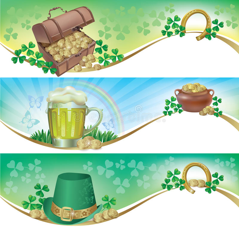 Download St. Patricks Day Horizontal Banners Stock Vector - Illustration of frame, coins: 29606537