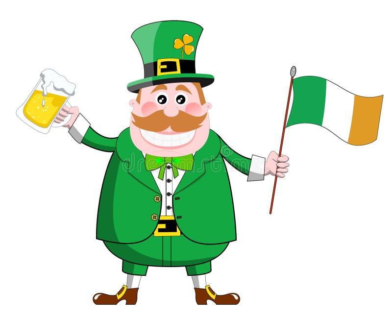 St. Patricks Day Leprechaun Beer Flag Stock Images