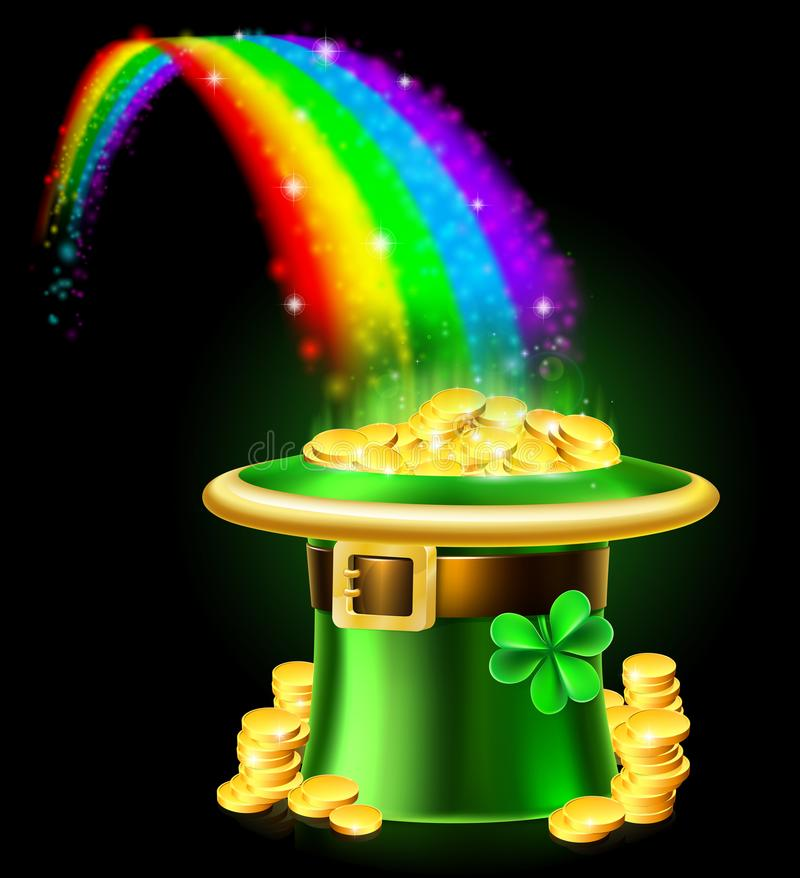 St Patricks Day Leprechaun Rainbow Hat of Gold stock illustration