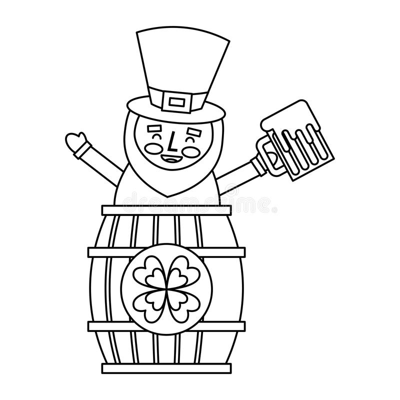 St. patricks day leprechaun inside on a barrel with a pint of beer in his hand. Vector illustration outline image vector illustration