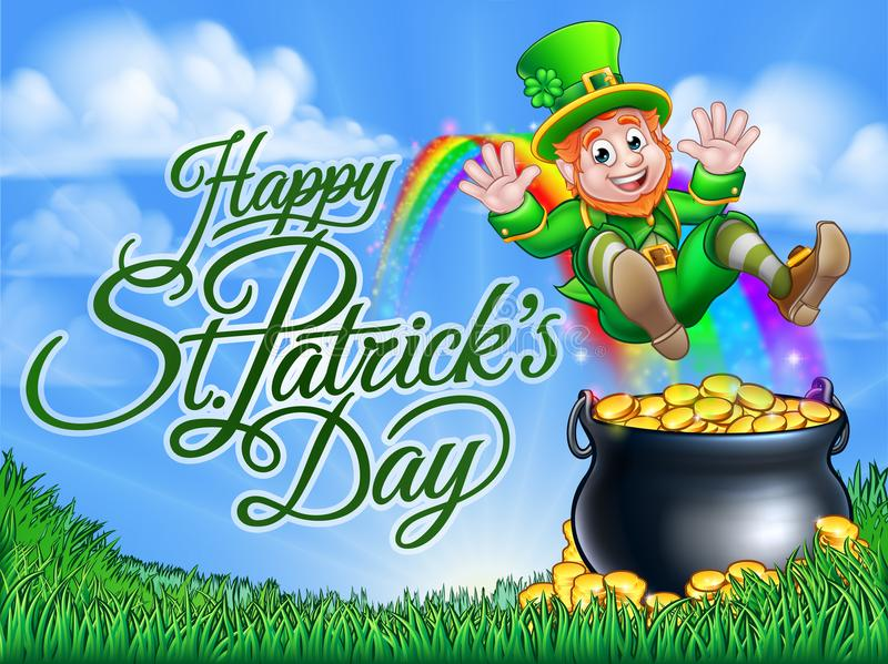 St Patricks Day Leprechaun Pot of Gold End Rainbow vector illustration