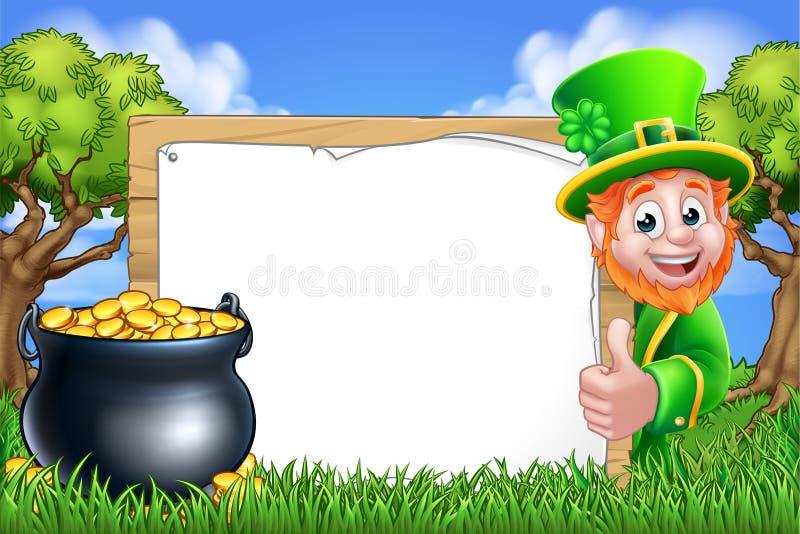 St Patricks Day Leprechaun Sign Cartoon Scene stock photo