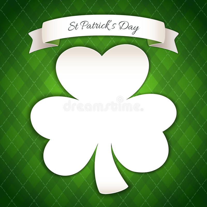 St Patricks Day Poster with Paper Clover royalty free illustration
