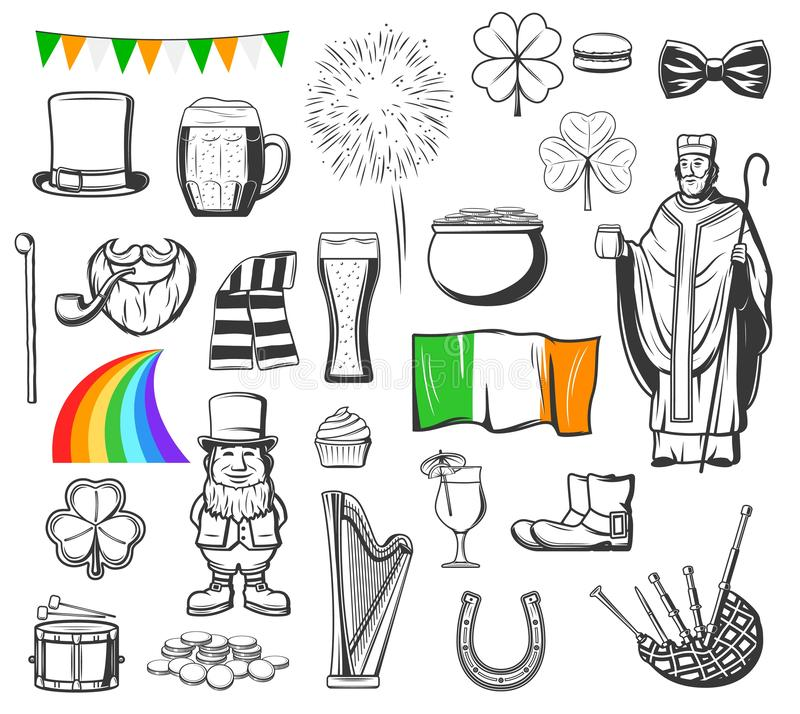 St Patrick, leprechaun, gold pot, clover and hat vector illustration