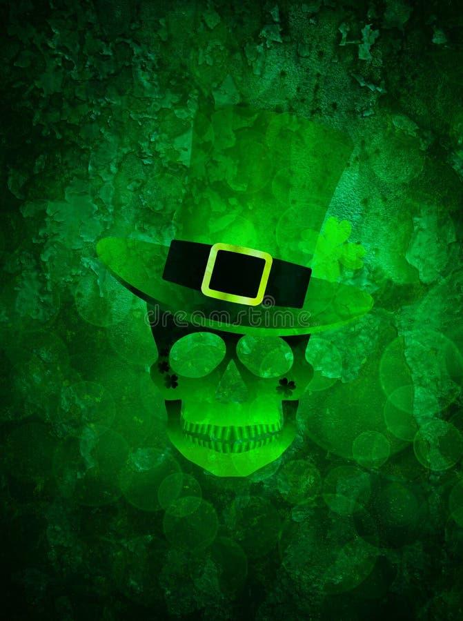 St Patricks Day Skull Grunge Background royalty free illustration