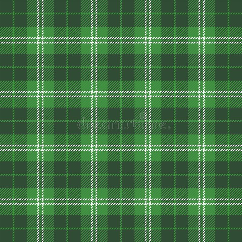 St. Patricks day Tartan plaid. Scottish cage. St. Patricks day tartan plaid. Scottish pattern in green and white cage. Scottish cage. Traditional Scottish royalty free illustration