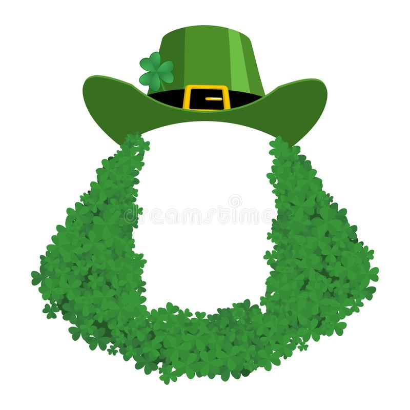 St Patricks day Template. Leprechaun blank banner. hat and beard in Shamrock. Holiday of Ireland. Traditional Irish holiday stock illustration