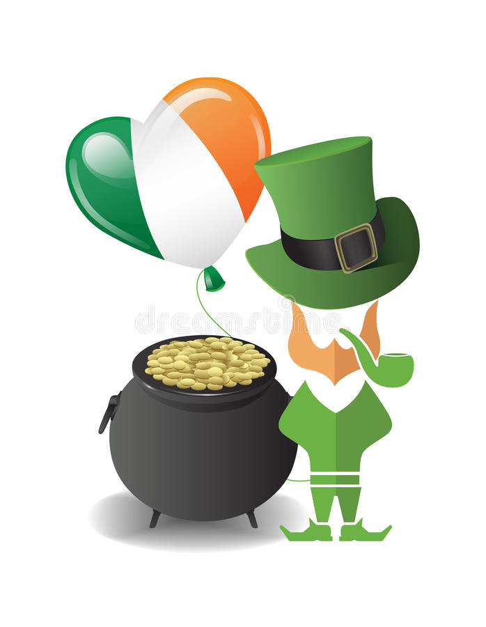 St patricks day vector with pot of gold stock illustration