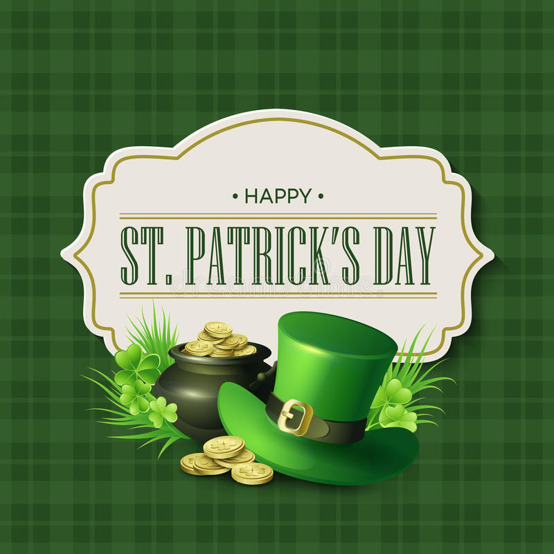 St. Patricks Day vintage holiday badge design. Vector illustration stock illustration