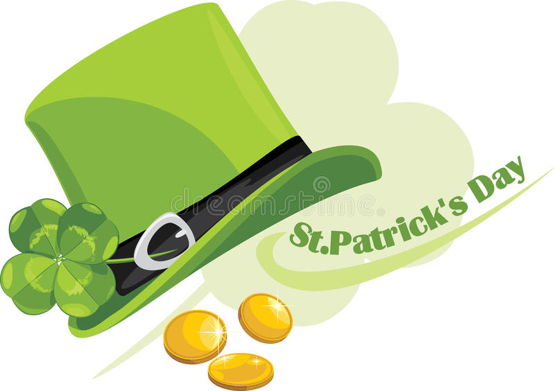 St. Patricks de hoed van de Dag met klaverblad en muntstukken royalty-vrije illustratie