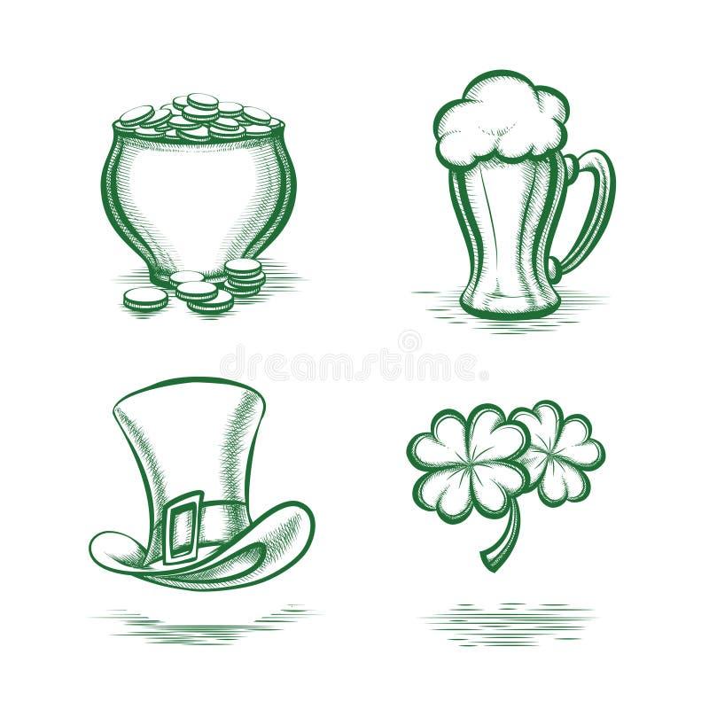 St Patricks de symbolen van de Dag vector illustratie
