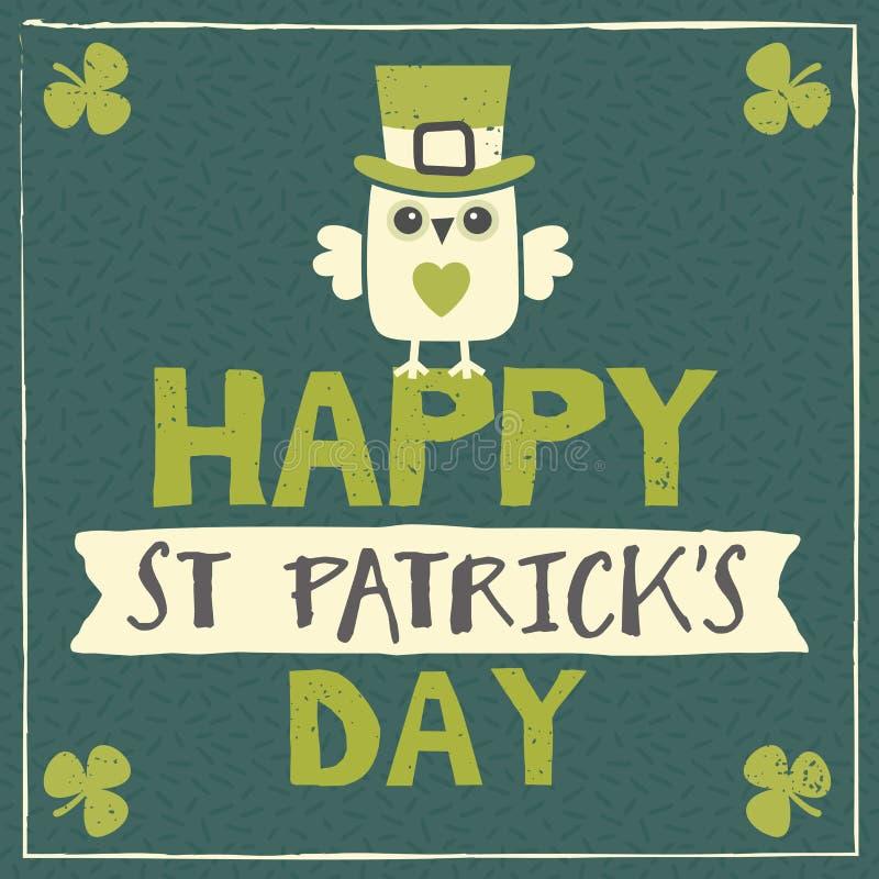 St Patricks dnia karta z leprechaun sową ilustracji