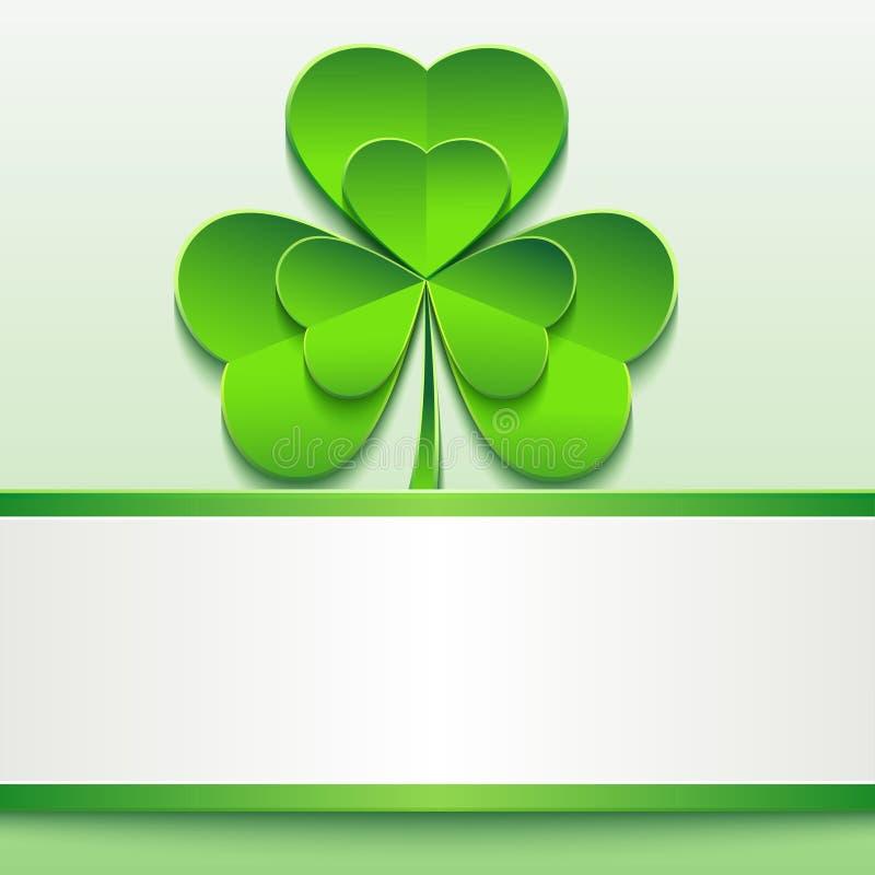 St Patricks dnia karta z zieloną koniczyną i papierem royalty ilustracja
