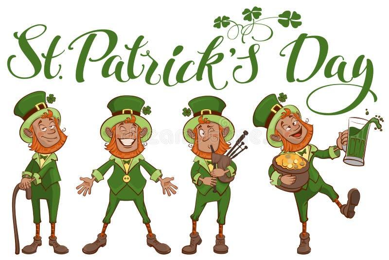 St Patricks dnia literowania tekst Ustawia zabawy kreskówki mężczyzna ilustracji