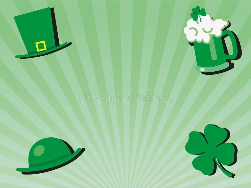St patricks dnia powitania świętowania tło z zielonym szkłem piwo, kapelusze i shamrock, ilustracji