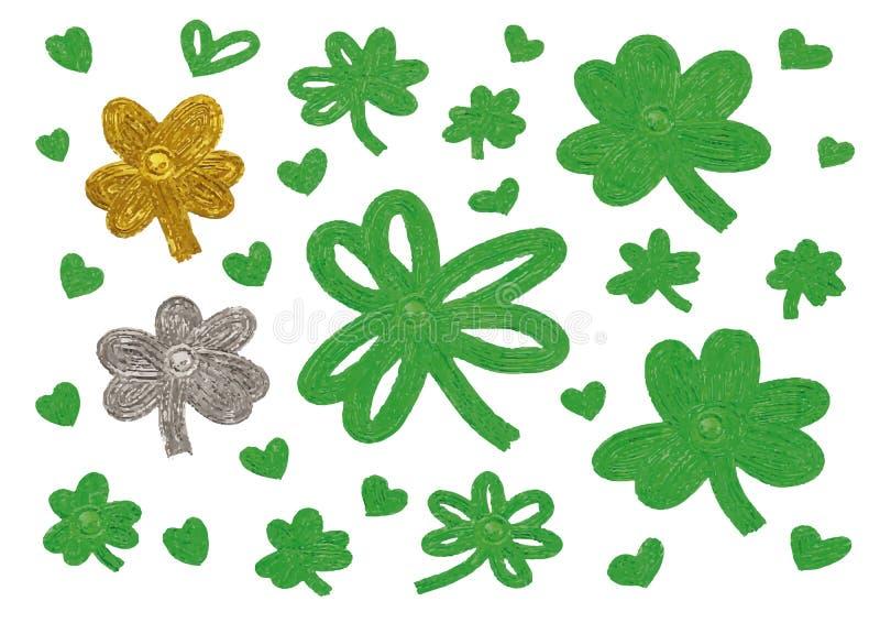 St Patricks dnia projekt koniczyny serce i liście royalty ilustracja