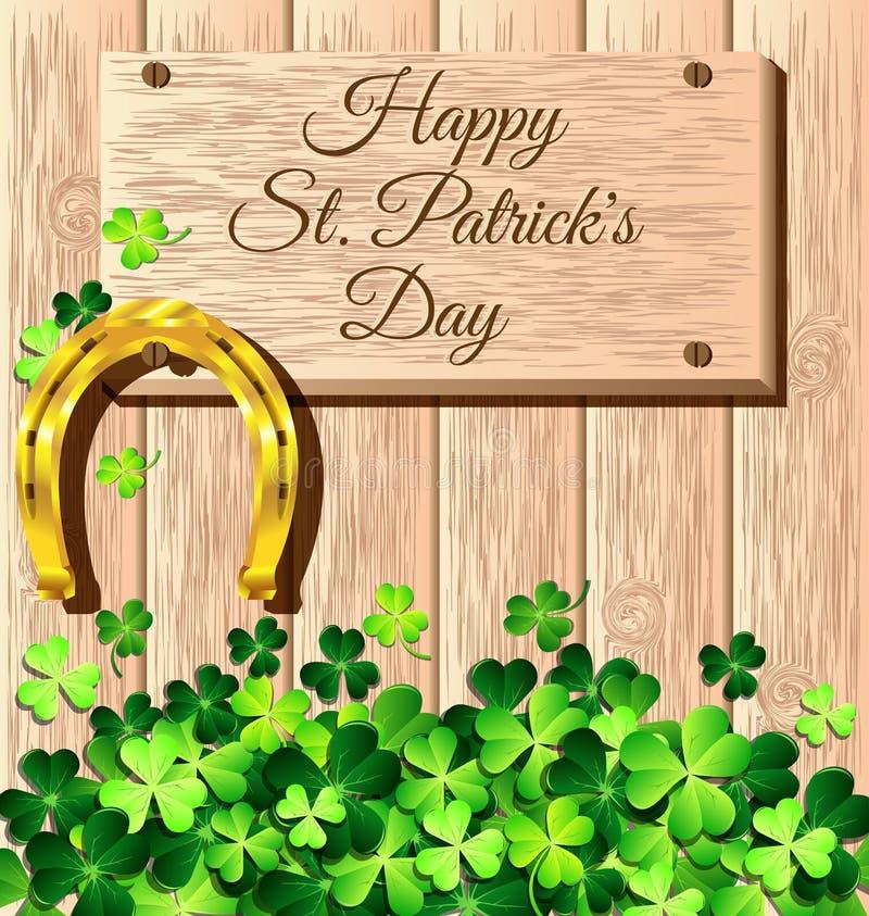 St Patricks dnia rama z złocistą podkową na drewnianym royalty ilustracja