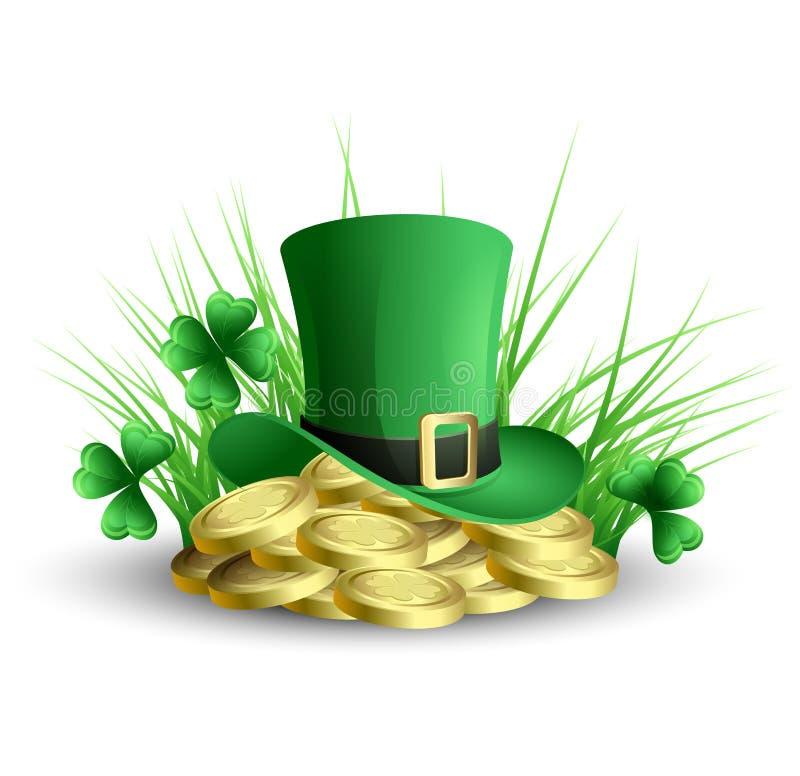 St Patricks dnia zieleni koniczyny tło ilustracja wektor