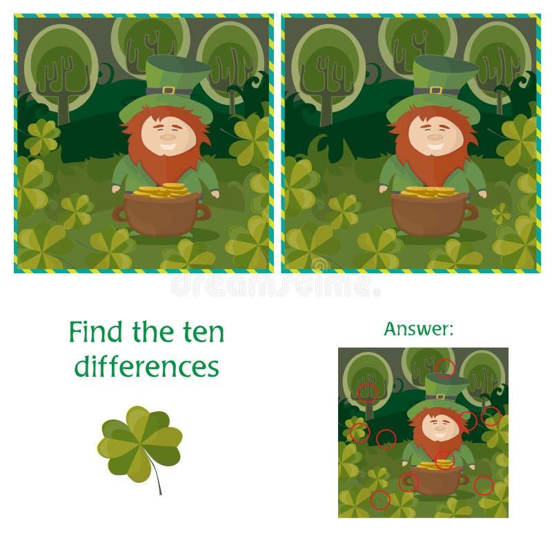 St Patricks dzień - znaleziska dziesięć różnic wizualna łamigłówka ilustracji