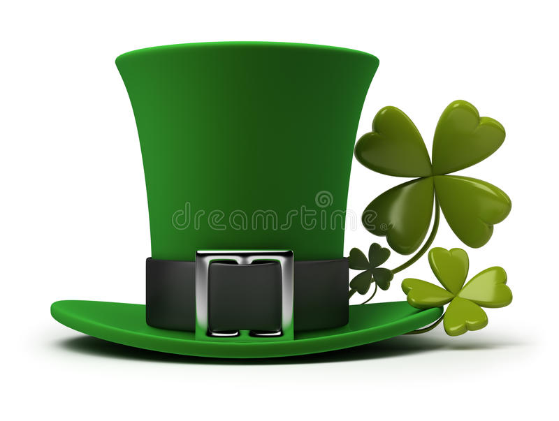 St Patricks hat and clover royalty free illustration