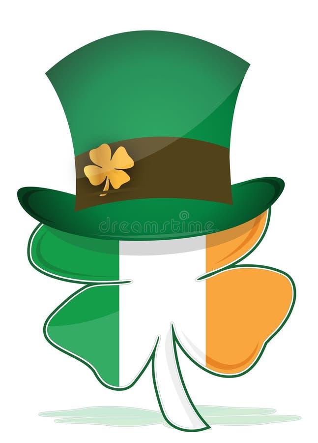 St. Patricks Hat With Irish Clover Illustration Stock Photos